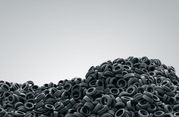Mound of old tyres