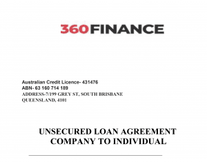 Copy fo Fake Loan Contract from Indian Scammers